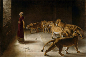 Briton Riviere's depiction of Daniel in the Lions Den